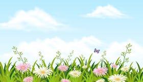 Un bello giacimento di fiore con la farfalla illustrazione di stock