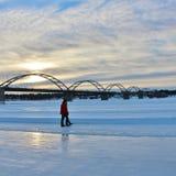 Un bello giorno di inverno sul fiume di Lule Immagine Stock Libera da Diritti