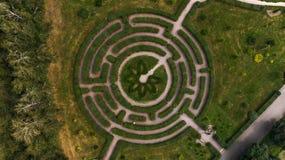 Un bello labirinto verde nel giardino botanico nominato dopo la m. M. Grishka, Kiev, Ucraina fotografia stock