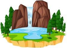 Un bello paesaggio della cascata illustrazione vettoriale