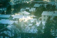 Un bello paesaggio di mattina di Roros Posto del patrimonio mondiale Città storica in Norvegia centrale Immagini Stock