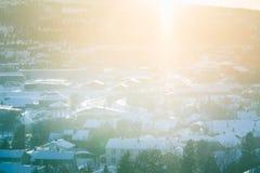 Un bello paesaggio di mattina di Roros Posto del patrimonio mondiale Città storica in Norvegia centrale Immagine Stock Libera da Diritti
