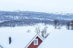 Un bello paesaggio di mattina di Roros Posto del patrimonio mondiale Città storica in Norvegia centrale Fotografie Stock Libere da Diritti