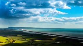 Un bello punto di fotografia sulla costa ovest del sud dell'Inghilterra, sulla costa giurassica immagini stock