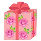 Un bello regalo La scatola è imballata per una festa Il pacchetto è rosa, decorato con le rose L'arco rosso è legato sulla cima V illustrazione di stock