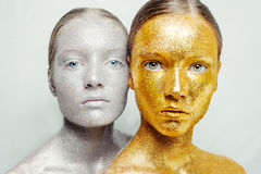 Un bello, ritratto stupefacente della donna due Fotografia Stock Libera da Diritti