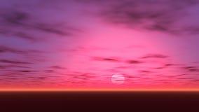 Un bello tramonto con piccola incandescenza porpora e rossa nel cielo illustrazione vettoriale