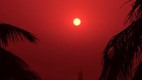 Un bello tramonto nella sera Fotografia Stock Libera da Diritti
