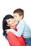 Un beso caliente a mi madre Foto de archivo libre de regalías