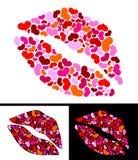 Un beso para el día de tarjeta del día de San Valentín Foto de archivo libre de regalías