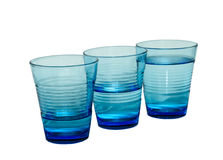 Un bicchiere d'acqua di tre blu Immagini Stock Libere da Diritti