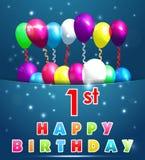 un biglietto di auguri per il compleanno felice da 1 anno con i palloni ed i nastri illustrazione vettoriale