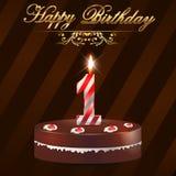 un biglietto di auguri per il compleanno felice da 1 anno con il dolce e le candele illustrazione di stock
