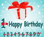 un biglietto di auguri per il compleanno felice da 1 anno con il regalo ed il fondo variopinto nel vettore EPS10 illustrazione vettoriale
