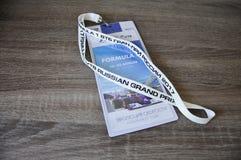 Un biglietto per la corsa il Gran Premio della Russia, il retro di formula 1 Fotografia Stock