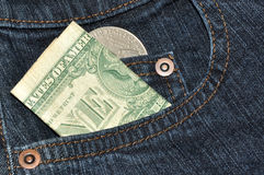 Dollars dans la poche Image libre de droits
