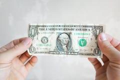 Un billete de banco americano del dólar en las manos masculinas Foto de archivo libre de regalías