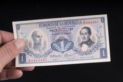 Un billete de banco colombiano viejo Imagenes de archivo