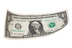 Un billete de banco del dólar en el fondo blanco Fotografía de archivo