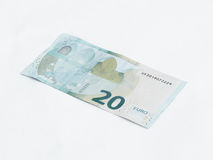 Un billete de banco digno del euro 20 aislado en un fondo blanco Fotografía de archivo libre de regalías