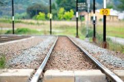 Un binario ferroviario Fotografia Stock
