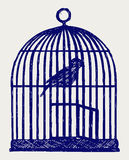 Un birdcage y un pájaro de cobre amarillo abiertos Foto de archivo libre de regalías