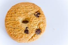 Un biscotto di pepita di cioccolato su bianco Fotografie Stock Libere da Diritti