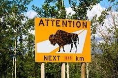 Un bisonte de la atención del camino para la señal de peligro siguiente de los 315km foto de archivo