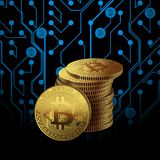 Un Bitcoin d'or sur le fond de modèle de carte illustration stock