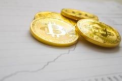 Un bitcoin de oro en fondo del gráfico concepto comercial de moneda crypto Foto de archivo libre de regalías