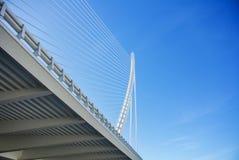 Un blanc a suspendu le pont aux las Ciencias de Ciudad de las Artes y à Valence Photographie stock libre de droits