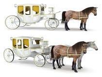 Un blanco, carro oro-acabado dibujado por un par de caballos ilustración del vector