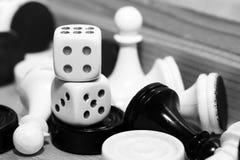 Un blanco de los pares de dados y del ajedrez Imágenes de archivo libres de regalías