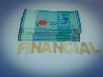 Un bloque de plan financiero de la letra con un fondo blanco foto de archivo