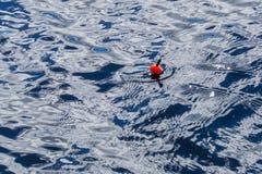 Un bobber del flotador de la pesca que flota en la superficie del agua Foto de archivo libre de regalías