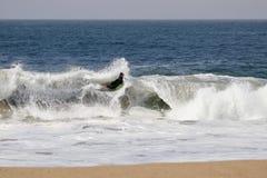 Un bodyboarder que coge una onda en la cuña en la playa de Newport imagen de archivo