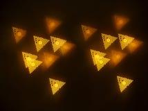 Un bokeh hermoso del oro con el modelo de elementos geométricos en un fondo oscuro imágenes de archivo libres de regalías