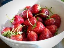 Un bol blanc de fraises fraîches photo libre de droits