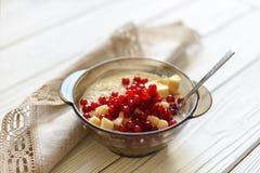Un bol de céréale avec des fruits et des baies Photo libre de droits