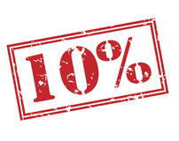 un bollo di 10 per cento su fondo bianco Fotografia Stock Libera da Diritti