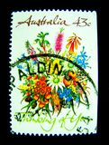 Un bollo stampato in Australia mostra ad un'immagine di bello ` del mazzo del fiore che pensa voi la serie del bollo del ` sul va Immagini Stock Libere da Diritti
