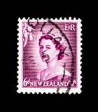 Un bollo stampato in Nuova Zelanda mostra sei tasse del penny, serie della regina Elizabeth II, circa 1954 Immagini Stock