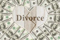 Un bon nombre d'argent pour un message de divorce Image libre de droits
