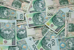 Un bon nombre de billets de banque verts polonais Photos libres de droits