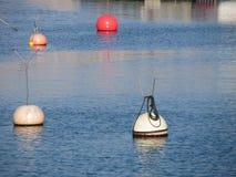 Un bon nombre de bouées d'amarrage flottant sur l'eau de mer calme image stock