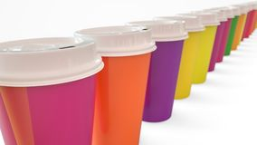Un bon nombre de café coloré à aller tasses - rendu 3D Photographie stock libre de droits