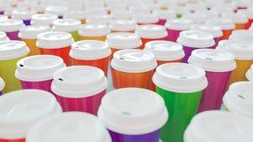 Un bon nombre de café coloré à aller tasses - rendu 3D Photo libre de droits