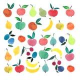 Un bon nombre de croquis de main d'aquarelle de fruits et de baies Image libre de droits