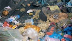 Un bon nombre de déchets prêts pour réutiliser, se ferment  Les déchets mobiles à une usine, vont sur une ligne spéciale clips vidéos