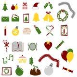 Un bon nombre de graphismes de Noël et de réception Images stock